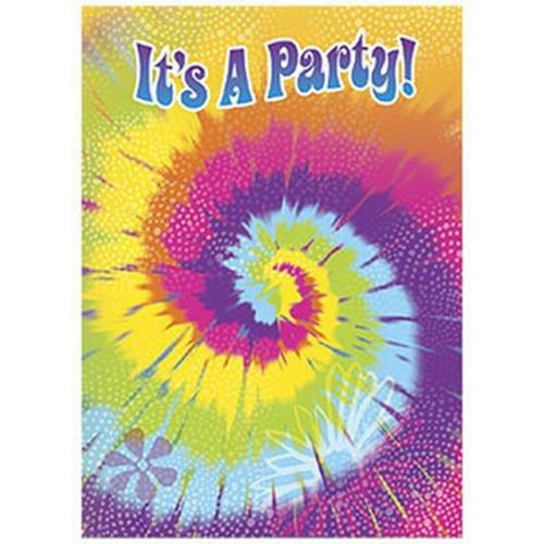 Birthday Party Celebration Tie Dye Swirl Sixties Theme Invitations Envelope 8 Ct (Tie Dye Invitations compare prices)