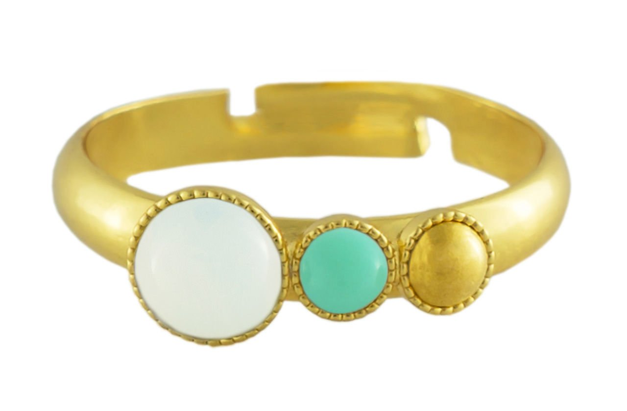 24K Gold Plated Minimalist Ring Adjustable Universal Size Trio Ooo Round Czech Glass Stone Opaque Turquoise White Opal Moonstone Handmade Bo