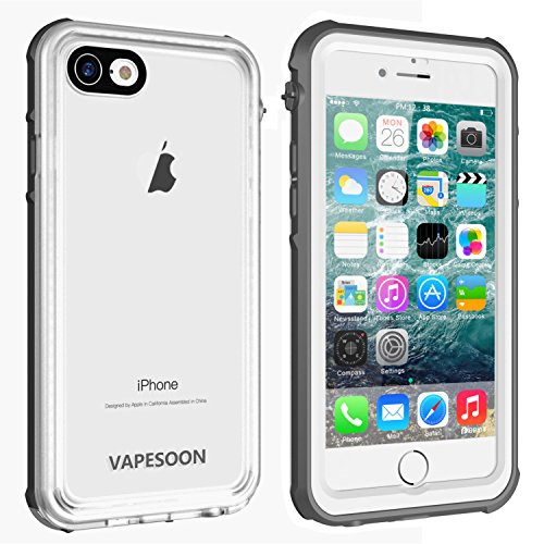 Vapesoon Waterproof Case Compatible iPhone 7/8,Vapesoon Waterproof Shockproof Snowproof Clear Case iPhone 7/8-Gray+White/Transparent(4.7inch)