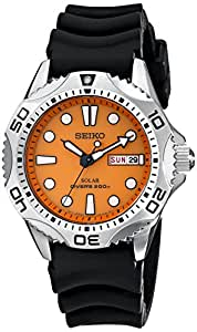 Seiko SNE109 Men's Quartz Orange Dial Black Rubber Strap Watch