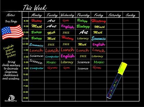 Dosensepro Weekly Planner Chalkboard Calendar Time Table