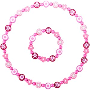 Minihope Jewelry For Kids Flower Shape Necklace and Bracelet Set for Little Girls and Childrens