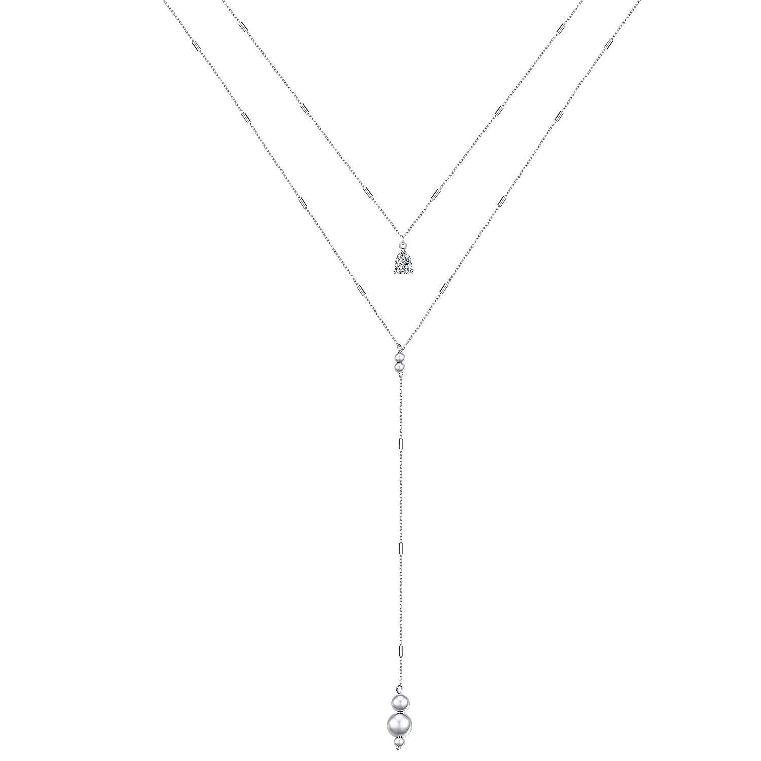 Flyow Multi Layer Choker Necklace S925 Sterling Silver Y Lariat Necklace for Women Long Chain by Flyow