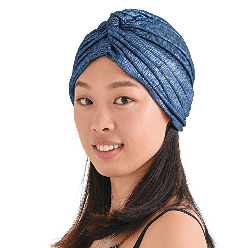Womens Fortune Teller Turban - Metallic Fashion Afro Accessory Headwrap Hair Hat Boho Chemo Wrap Blue