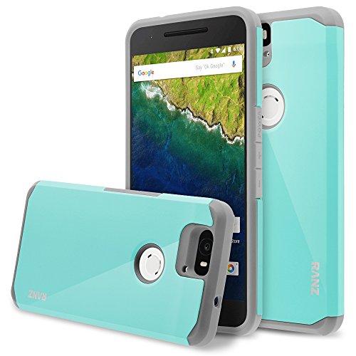 Nexus 6P case, RANZ Grey with Aqua Blue Hard Impact Dual Layer Shockproof Bumper Case for Google Nexus 6P