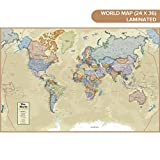 Waypoint Geographic Classic Ocean World Wall Map (24'' x 36'') - Current up-to-Date - 1000's of Named Locations & Points of Interest - Rolled & Laminated - Display in Office, Classroom or Home