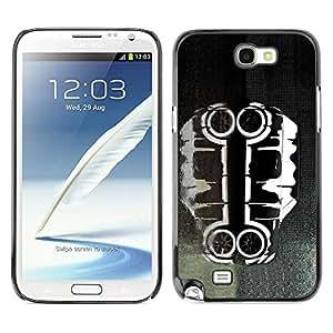 PC/Aluminum Funda Carcasa protectora para Samsung Note 2 N7100 Cool Car Art Black White Paint / JUSTGO PHONE PROTECTOR