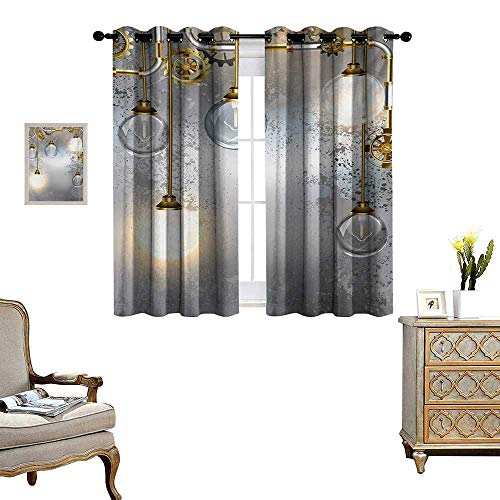 Lighthouse Brass Sconce - Industrial Window Curtain Drape Steampunk Style Antique Composition Brass Fastening Round Figures Print Decorative Curtains for Living Room W55 x L72 Gold Grey White