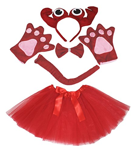 [Petitebella Red Crab Headband Bowtie Tail Gloves Tutu 5pc Costume for Girl (One Size)] (Crab Costumes)