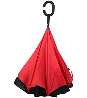 Paraguas invertido grande – Paraguas reversible inside out umbrella – Mango de Paraguas inverso en forma