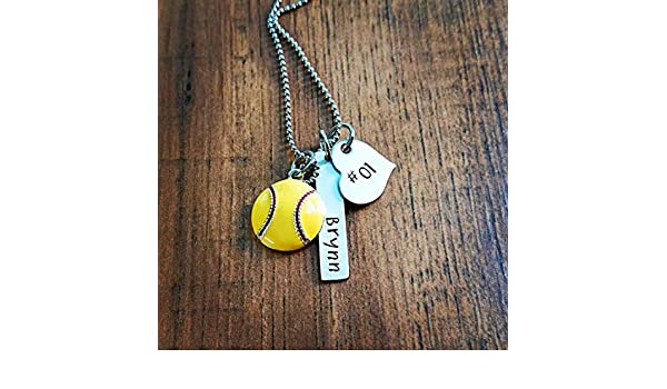 Amazon.com: Hand Stamped Necklace Personalized Softball ...