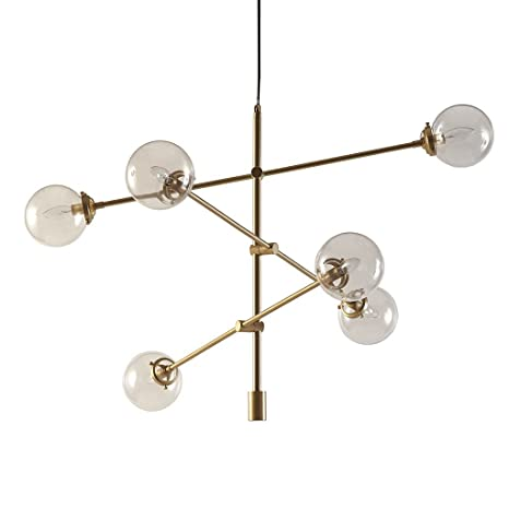 Mid Century Modern Antique Gold Chandelier with 6 Oversized Glass Bulbs -  Includes Modhaus Living Pen - Mid Century Modern Antique Gold Chandelier With 6 Oversized Glass