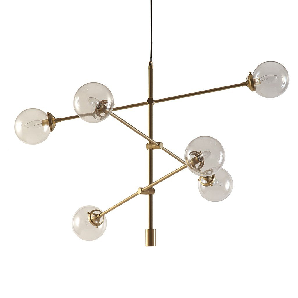 Mid Century Modern Antique Gold Chandelier with 6 Oversized Glass Bulbs - Includes Modhaus Living Pen (Gold)