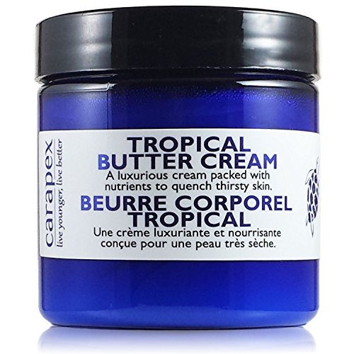 Carapex Tropical Butter Cream, Non Greasy Hand Cream, Body Cream for Cracked Hands, Super Dry Skin with Natural Shea Butter, Cocoa Butter, Vitamin E, Green Tea Extract, Fragrance Free, 4oz