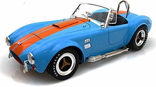1965 Shelby Cobra 427 S/C Convertible, Blue w/ Orange Stripes - Shelby SC129 - 1/18 Scale Diecast Model Toy Car