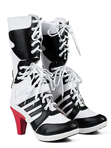 Harley Quinn Shoes (Fly Costume Womens Cosplay White PU Pleather Shoes High Heel Boots (Female US 9))