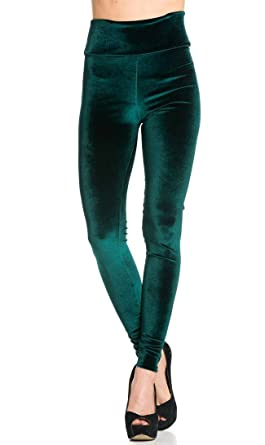 074bcb9bba2 High Waisted Ultra Soft Stretchy Velvet Leggings in Forest Green at ...