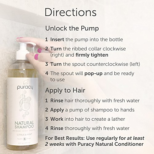 Puracy Natural Daily Shampoo Set [2-Pack], Sulfate-Free, Plant-Powered, Salon-Tested for All Hair Types, 16 Ounce Pump Bottle [Set of 2] by Puracy (Image #6)