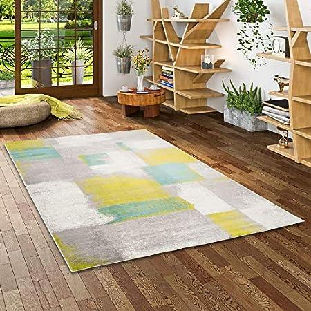 Pergamon Tango - Alfombra de diseño - Cuadros Gris Verde Turquesa gradiente - 5 tamaños