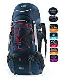 TERRA PEAK Adjustable Hiking Backpack 55L+20L for Men Women With Free Rain Cover Included Navy