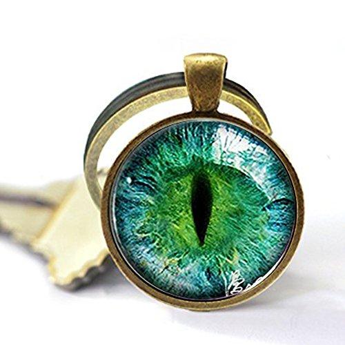 - hars Green, Yellow, or Blue Cat Eye Glass Eyeball Sterling Silver Keychain