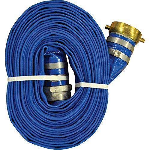 JGB Enterprises A008-0486-1625 Eagle-Flo Blue PVC Discharge Hose, 3'' x 25', Male x Female Water Shank Couplings, 70 psi Working Pressure, -4 Degree F to 150 Degree F by JGB Enterprises
