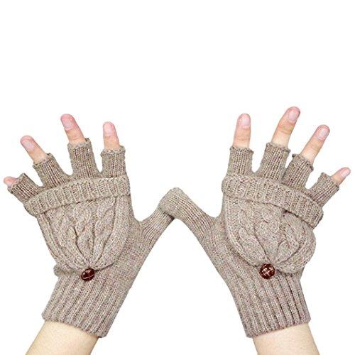 Guantes calientes para Mujeres,Ouneed ® Invierno mantener caliente calentador guantes sin dedos lana marrón