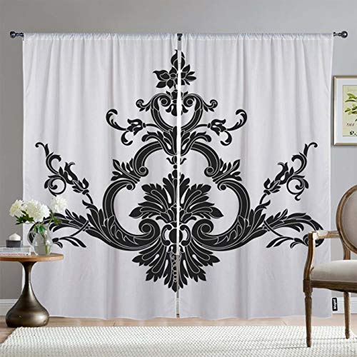 Mugod Window Curtains Vintage Baroque Ornament Pattern Antique Style Acanthus Decor Room Darkening Drapes Curtains 2 Panels for Bedroom Living Room & Kitchen, 108