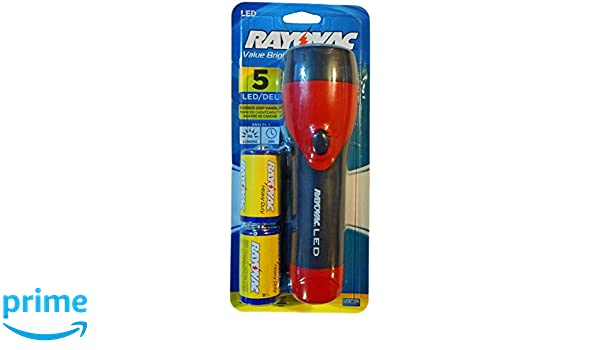 Rayovac Value Bright 46 Lumen 5 LED Rubber Flashlight with Batteries (Red) - - Amazon.com