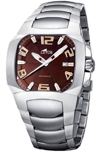 Lotus Code - Reloj analógico de caballero de cuarzo con correa de acero inoxidable plateada -