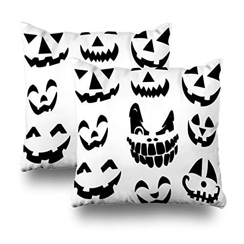 Suesoso Decorative Pillows Case 18 X 18 Inch Set of 2, Pumpkin Halloween Smile Abstract Autumn Black Cartoon Holiday Throw Pillowcover Cushion Decorative Home Decor Garden Sofa Bed Car]()
