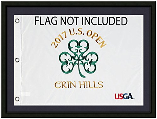 US Open Flag Frame - Limited Time Offer; Holds Souvenir US Open Golf Flag, Black Moulding blk-001, Navy Mat (holds 14x20 Golf Flags; flag not incl) SF