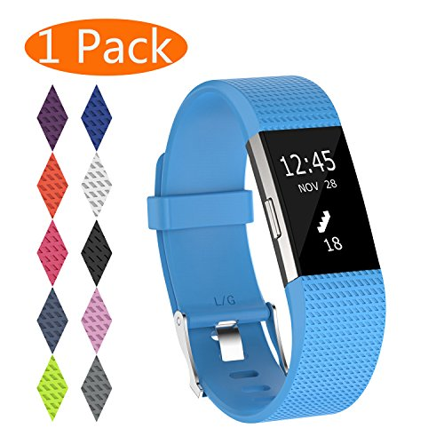 KingAcc Compatible Fitbit Charge 2 Bands, Soft Silicone Replacement Band for Fitbit Charge 2, with Metal Buckle Fitness Wristband Sport Strap Women Men (1-Pack, Sky Blue, Small)