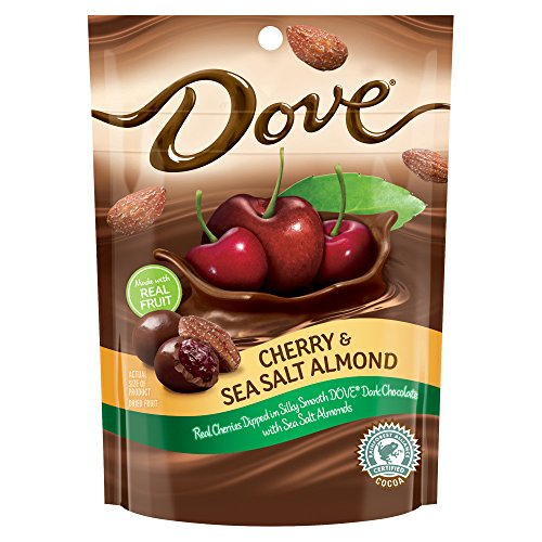 DOVE Fruit Cherry and Sea Salt Almond Dark Chocolate Snacks 5.5-Ounce Pouch (Pack of 8)