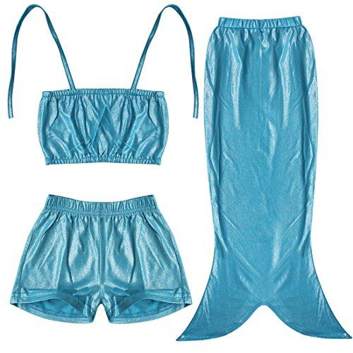 iEFiEL Girls 3pcs Swimmable Mermaid Tail Costume Swimwear Princess Bikini Swimsuit Blue 4-5