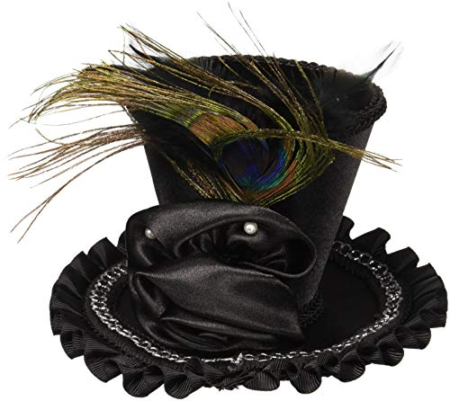 Forum Novelties Womens Mini Top Hat with Rose Costume Accessory, Black, One Size