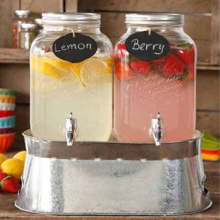 The Pioneer Woman Simple Homemade Goodness Double 1-Gallon Twin Set Drink Dispenser with Ice Bucket, 2 Mini Chalk Boards and Chalk Pencil