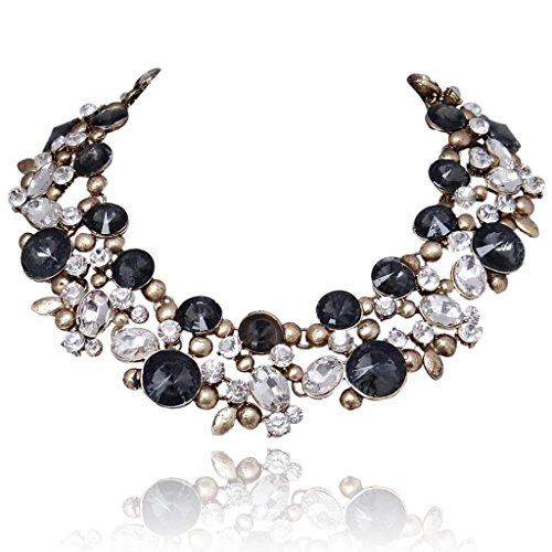 EVER FAITH Antiqued-Gold-Tone Statement Choker Necklace Oval Black w/Clear Austrian (Austrian Crystal Oval Necklace)