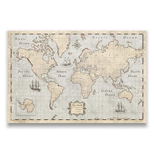 Conquest Maps World Map with Pins Rustic Vintage Style Push Pin Travel Map Cork Board, Handmade Unique Canvas Pinable Traveler Map. 100 Push Pins Included! (36 x 24 Inches)