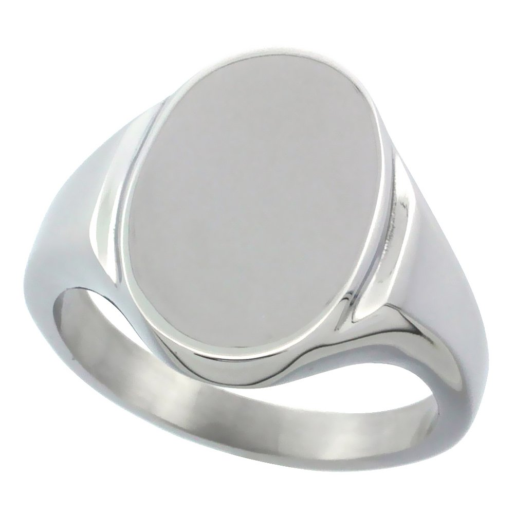 Surgical Stainless Steel Oval Signet Ring Solid Back Flawless Finish 5/8 inch, size 9.5