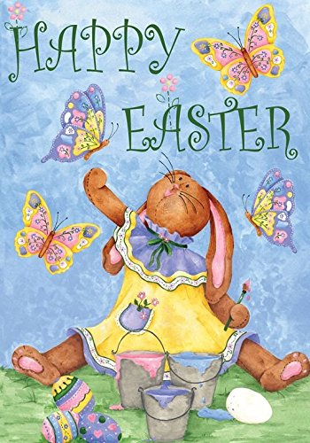 "Happy Easter Bunny Primitive Garden Flag Holiday 12.5"" x 18"""