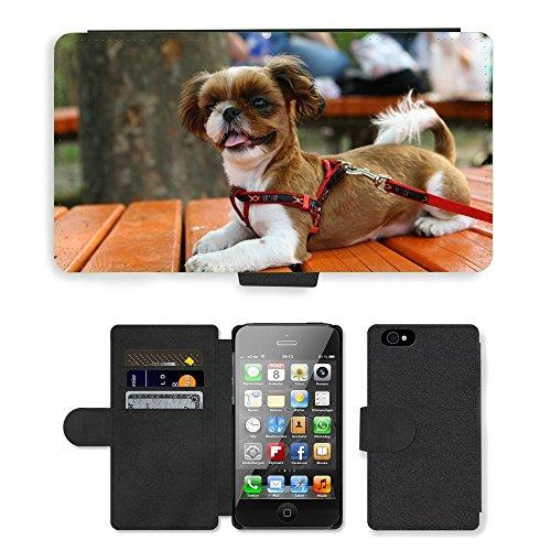 Just Phone Cases PU Leather Flip Custodia Protettiva Case Cover per // M00127839 Puppy Dog Park Walk // Apple iPhone 4 4S 4G