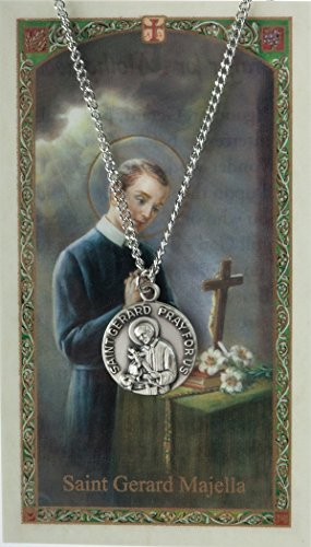 Patron and Protector Medals Pewter Saint St Gerard Majella Medal with Laminated Holy Card, 3/4 Inch