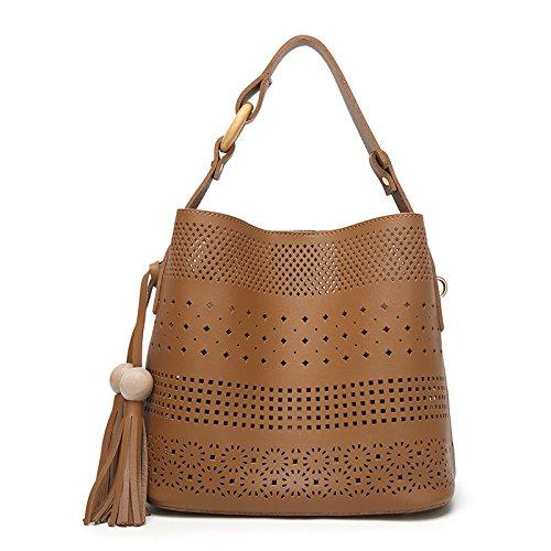 Mefly Satchel Bag Todos-Match Moda Mujer Nueva Imagen Fringe Albaricoque brown