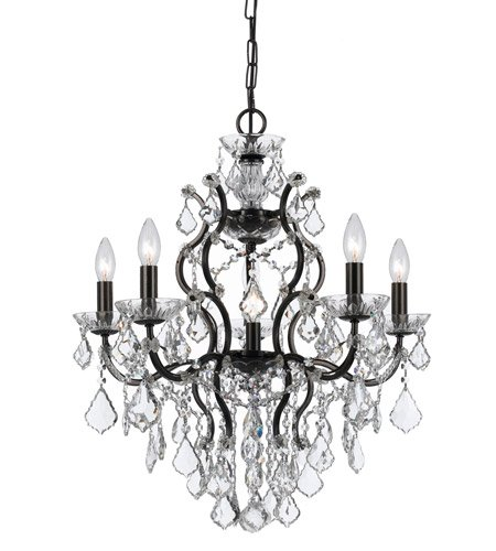 - Chandeliers 6 Light With Vibrant Bronze Clear Swarovski Strass Crystal Wrought Iron 23 inch 360 Watts - World of Lighting