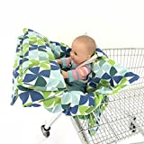 2in1 Windmill Pillow Costco And Walmart Sized Grocery Baby Shopping Cart Pad With Pillow Baby Seat Cover, Restaurant High Chair Cover- Green Insert Cushion Holder for Boys, Girls, Infants, Toddler