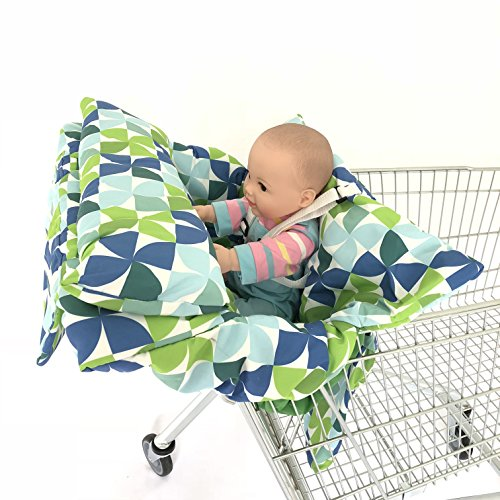 2in1 Windmill Pillow Costco And Walmart Sized Grocery Baby Shopping Cart Pad With Pillow Baby Seat Cover, Restaurant High Chair Cover- Green Insert Cushion Holder for Boys, Girls, Infants, Toddler by SEALOVESFLOWER