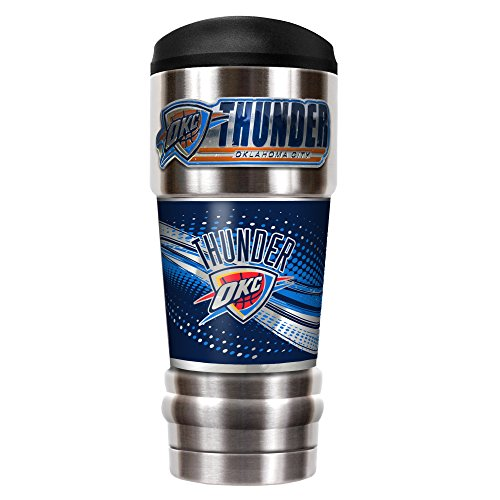 Great American Products NBA Oklahoma CITY Thunder Unisex NBA Thunder 18 oz Vacuum Insulated MVP Tumblr, Silver by Great American Products