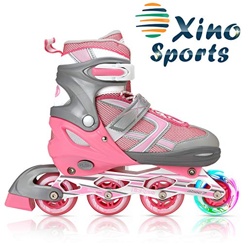 XinoSports Inline Roller Skates with Light Up Illuminating Front Wheels, for Growing Girls and Boys Ages 5-20
