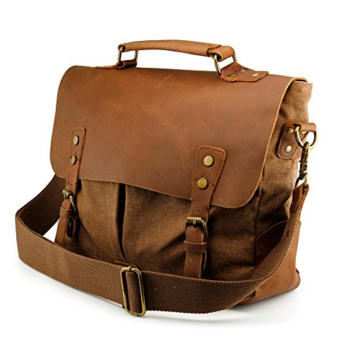 GEARONIC TM Men's Vintage Canvas Leather Messenger Bag Satchel School Military Shoulder Travel Bag for Notebook Laptop Macbook 11 and 13 inch Air Pro- Brown